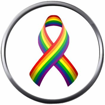 Rainbow Awareness Ribbon Pride Symbols Gay Lesbian Transgender Pride LGBT LGBTQ 18MM - 20MM Snap Jewelry Charm