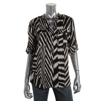 Calvin Klein Womens Animal Print Adjustable Sleeves Button-Down Top
