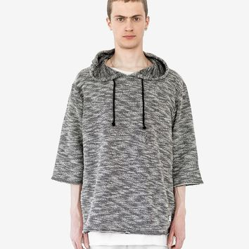 Rush Marbled Quarter Sleeve Hoodie in Mixed Gray
