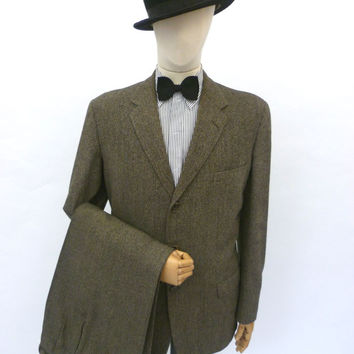 VINTAGE 1950s HARRODS SUIT 40 LONG W36