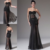 Sexy Black Chiffon Bead Applique Evening Dress Formal Party Prom Pageant Gown
