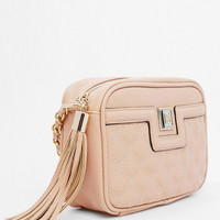 Beige Quilted Faux Leather Crossbody Bag