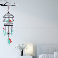 Mint and red birdcage dream catcher on a branch vinyl wall decal, wall sticker, decal, vinyl decal, home decor, graphic decal, wall art