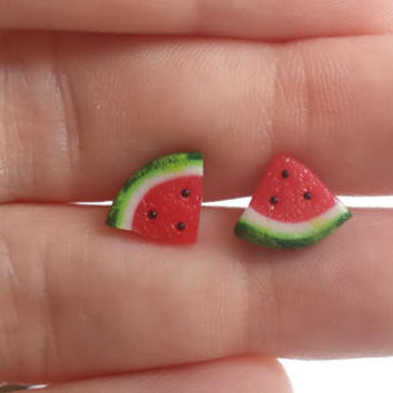 Watermelon Post Earrings - Miniature Food Jewelry - Tiny Food Jewelry