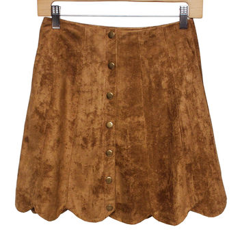 Mina Scalloped Button-Up Skirt