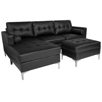 Riverside Upholstered Tufted Back Sectional with Left Side Facing Chaise, Bolster Pillows and Ottoman Set