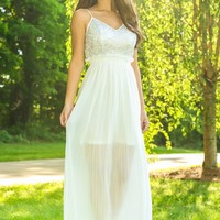 All That Shimmers Maxi Dress-White