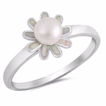 Sterling Silver Cultured Pearl Lab White Opal Pearl Blossom Ring