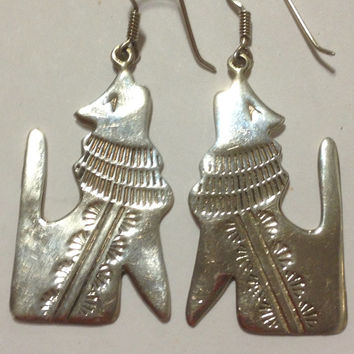 Howling Coyote Sterling Earrings Navajo Silver 925 Vintage Southwestern Tribal Jewelry USA Native American Wolf Wolves Gift Dogs Canine OOAK