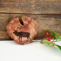 Wood Burned Elk on Cedar Heart.  Woodland Animal Ornament or wall hanging