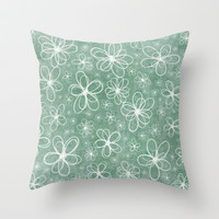 Doodle Flowers Green Throw Pillow by Alice Gosling