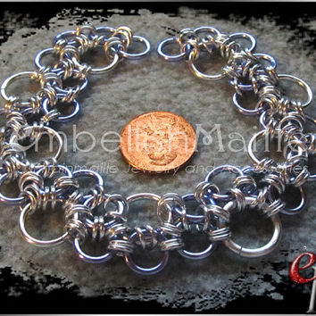 Stepping Stones Silver and Lavender Bubbles Chainmaille Bracelet Nickel Free metal great for metal allergies