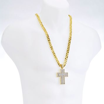 "Jewelry Kay style NEW G/S Plated CROSS Glitter Pendant 30"" Heavy Cuban Chain Necklace Set HC 6009"