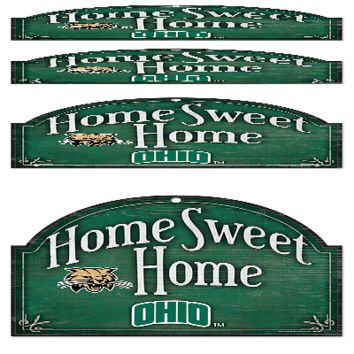 "OHIO BOBCATS HOME SWEET HOME ARCHED WOOD SIGN 10""x11"" BRAND NEW WINCRAFT"