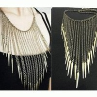 Metallic Tassel Bib Statement Necklace | LilyFair Jewelry