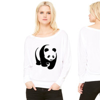panda teddy bear face cute animal save women's long sleeve tee