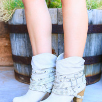 SWANKY STUDDED BOOTIES IN CREAM