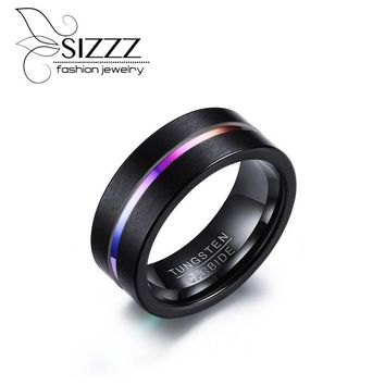 SIZZZ 8MM Tungsten Carbide Ring for Men Jewelry Thin Rainbow Color Line Wedding Ring