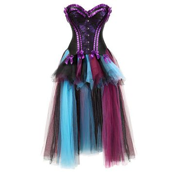 sexy renaissance charmain womens Corsets Dress with Skirt mesh Burlesque floral lace overlay corset bustier victorian red purple