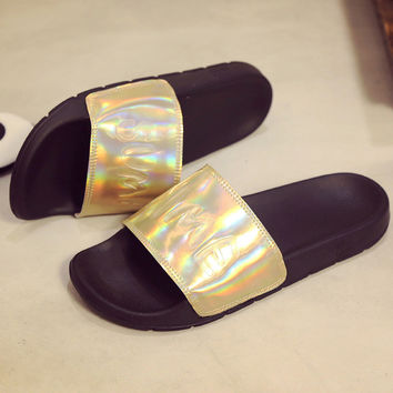 Summer laser Sandals Womens Open Toe Leather Sandals 2017 Women Slides Slippers Fashion Gold Glitter Beach Shoes Plus Size 35-44