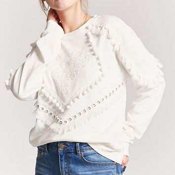 Tasseled Floral Pom Pom Knit Top
