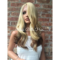 Cate Blonde Honey Bayalage Curly Multi Parting Human Hair Blend Lace Wig 14""