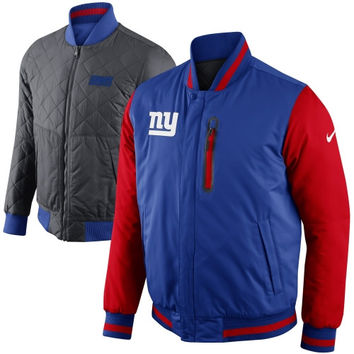 Nike New York Giants Defender Reversible Full Zip Sideline Jacket - Royal Blue/Red