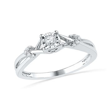 10kt White Gold Womens Round Diamond Solitaire Twist Promise Bridal Ring  1 10 Cttw d66aac9e9