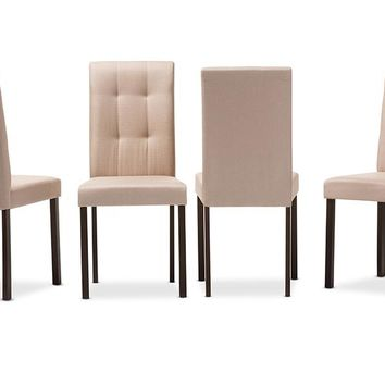 Baxton Studio Andrew Modern and Contemporary Beige Fabric Upholstered Grid-tufting Dining Chair Set of 4