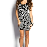 Isis Black and White Geometric Print Sleeveless Sweater Dress