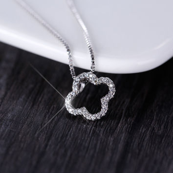 New Arrival Gift Jewelry Shiny 925 Silver Classics Leaf Diamonds Chain Korean Stylish Necklace [8026331207]