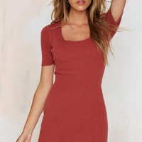 Glamorous Get the Scoop Ribbed Sweater Dress - Rust