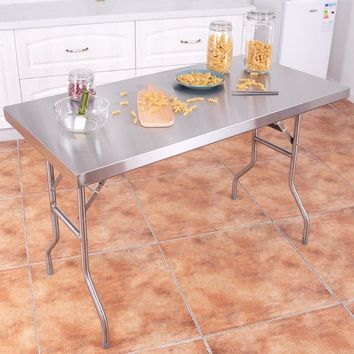 """Giantex Details about  Stainless Steel Folding Work Table 48"""" L x 24"""" W 484lbs Capacity Commercial Home Home Furniture TL33855"""