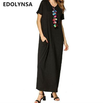 DKLW8 Beach Cover Up Black Long Dress Saida de Praia Beachwear Tunics Kaftan Large Size Robe de Plage Vestidos #Q294