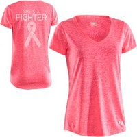 Under Armour Women's Power in Pink Achieve Fighter V-Neck T-Shirt - Dick's Sporting Goods