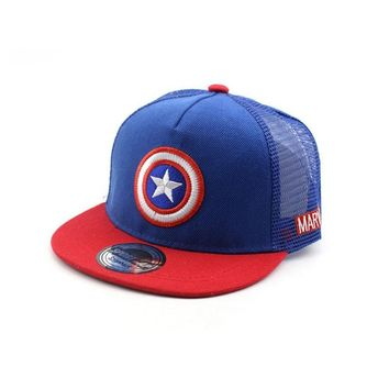 Trendy Winter Jacket Unisex Child Baseball Cap Summer Mesh Patchwork Captain America Adjustable Snapback  Hip-hop Baseball Hat Kid Chapeau MZ3724 AT_92_12