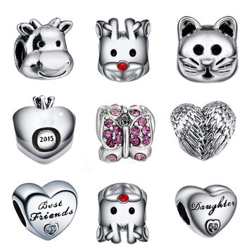 925 Sterling Silver Charm Heart and Animal Beads European Charms Silver Beads For Snake Chain Bracelet DIY Fashion Jewelry