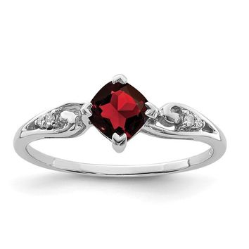Sterling Silver Diamond And Garnet Cushion Ring