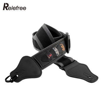 Multifunction Electric Guitar Strap Guitarra Strap W 3 Pick Holders Leather Black Useful Nylon Guitar Accessories Guitar Parts