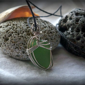 Green Sea Glass Pendant Necklace with Black Hemp Chain - Lake Ontario