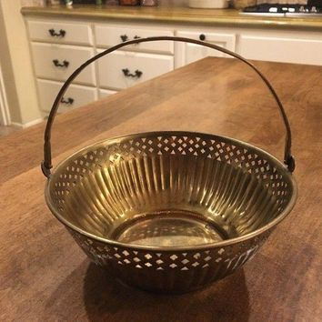 Vintage Andrea by Sadek Brass Bowl Basket with Handle - Made in India