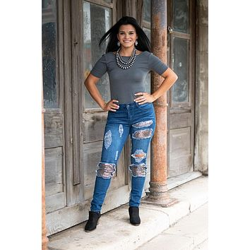 Fall Women's Regular & Plus Festive Skinny Rose Gold Sequin Patched Jeans