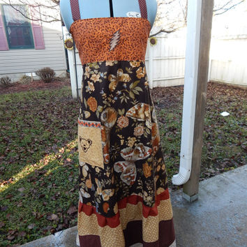 Earthy Patchwork Grateful Dead Bolt Sundress Hippie Patchwork Dress Festival Dress, OOak Dress, Corset Dress summer dress Apron Dress Hippie