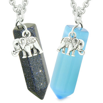 Lucky Elephant Love Couple or Best Friends Crystal Points Goldstone Sky Blue Simulated Cats Eye Necklaces