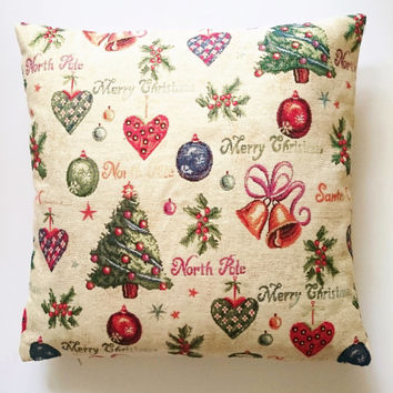 Decorative chrismas cushion cover,  weaved picture with golden thread, Cover in brocade thick cotton, insert sold apart.