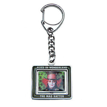 Disney Alice in Wonderland Johnny Depp Mad Hatter White Rabbit Spinner Key Chain
