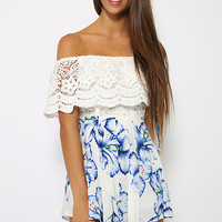 Kiki Playsuit - White Floral