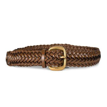 PEAPNO Gucci Women's Braided Leather Gold Buckle Belt 380606 Brown (32-38 in/80-95 cm)