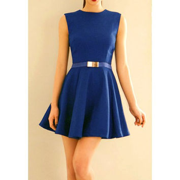Blue Sleeveless Beam Waist Flounce Dress