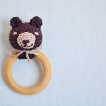 Teddy Bear Baby Teether - Organic Maple Wood Teether - Baby Teething Toy